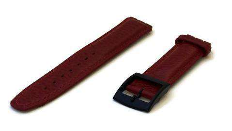 Red Swatch Style Leather Watch Strap Size 17mm