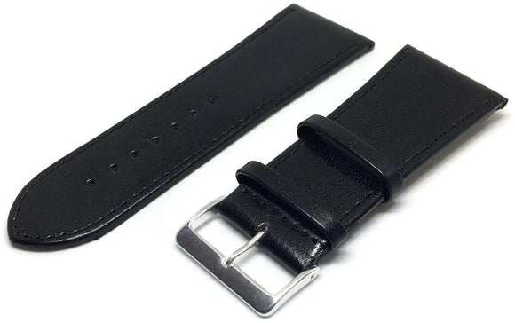 Extra Wide Watch Strap Black Smooth Calf Leather with Gold and Chrome Buckles 30mm to 40mm