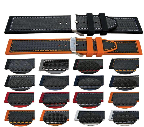 Hybrid Watch Strap Carbon Fibre and Calf Leather 18mm, 20mm, 22mm, 24mm