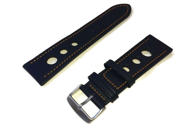 Grand Prix Rally Watch Strap Black with Orange Stitching 18mm to 24mm