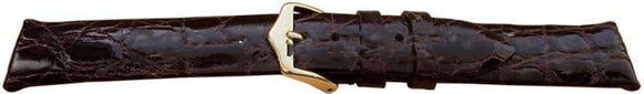 Genuine Crocodile Watch Strap Dark Brown Premier Flat High Shine Size 6mm to 22mm