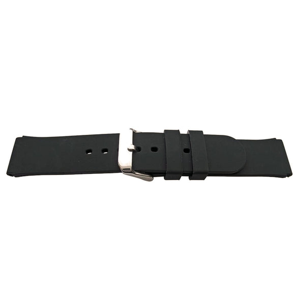 Black Rubber Watch Strap Smooth Texture 18mm and 20mm
