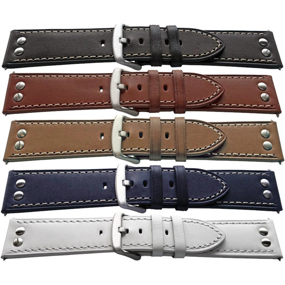 Calf Leather Watch Strap Stud Rivet, Smooth Grain 18mm,20mm,22mm and 24mm