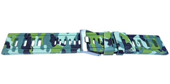 Light Green Camouflage Pattern Diving Watch Strap Vintage Ladder Style Size Stainless Steel Buckle 20mm, 22mm, 24mm and 26mm