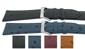 Ostrich Grain Calf Leather Watch Strap Prestige Elegance Semi Shine 12mm to 20mm