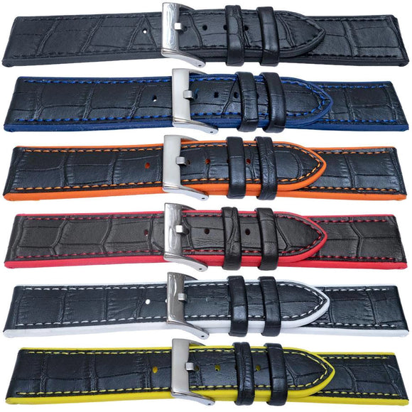 Hybrid Watch Strap Alligator Grain Calf Leather & Elite Silicone Size 20mm, 22mm, 24mm