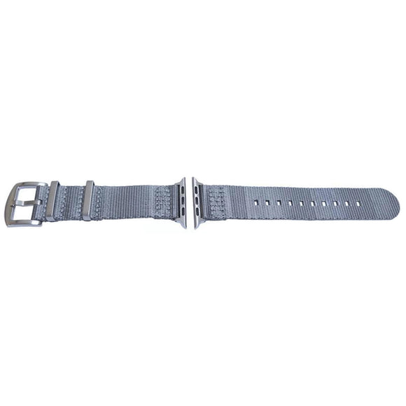 Apple iWatch Strap Grey Woven Fabric 2 Piece Heavy Duty Fittings 38mm and 42mm