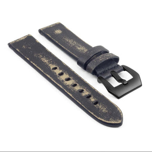 Destroyed Thick Leather Strap with Matte Black Pre-V Buckle