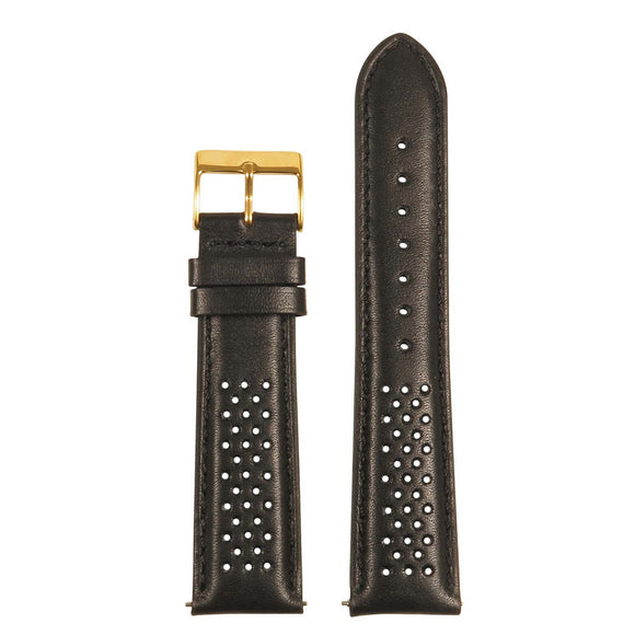 Perforated Rally Strap w/ Yellow Gold Buckle - Quick Release