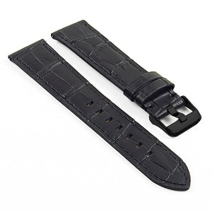 DASSARI swl3 Crocodile embossed Italian Leather Quick Release Strap w/ Matte Black Buckle