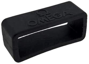"Authentic Omega Watch Strap Keeper 20mm Black Rubber Keeper with ""Omega"", Omega 98000219"