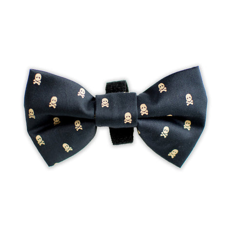 Black and Gold Skull Bow Tie