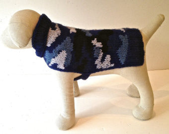 Blue Camouflage Wool Sweater