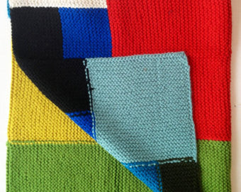 Color-Block Wool Blend Blanket