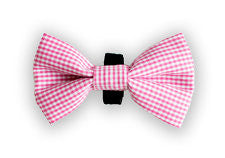 Small Pink Check Bow Tie