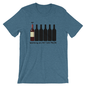 Working on my six pack - wine Unisex short sleeve t-shirt