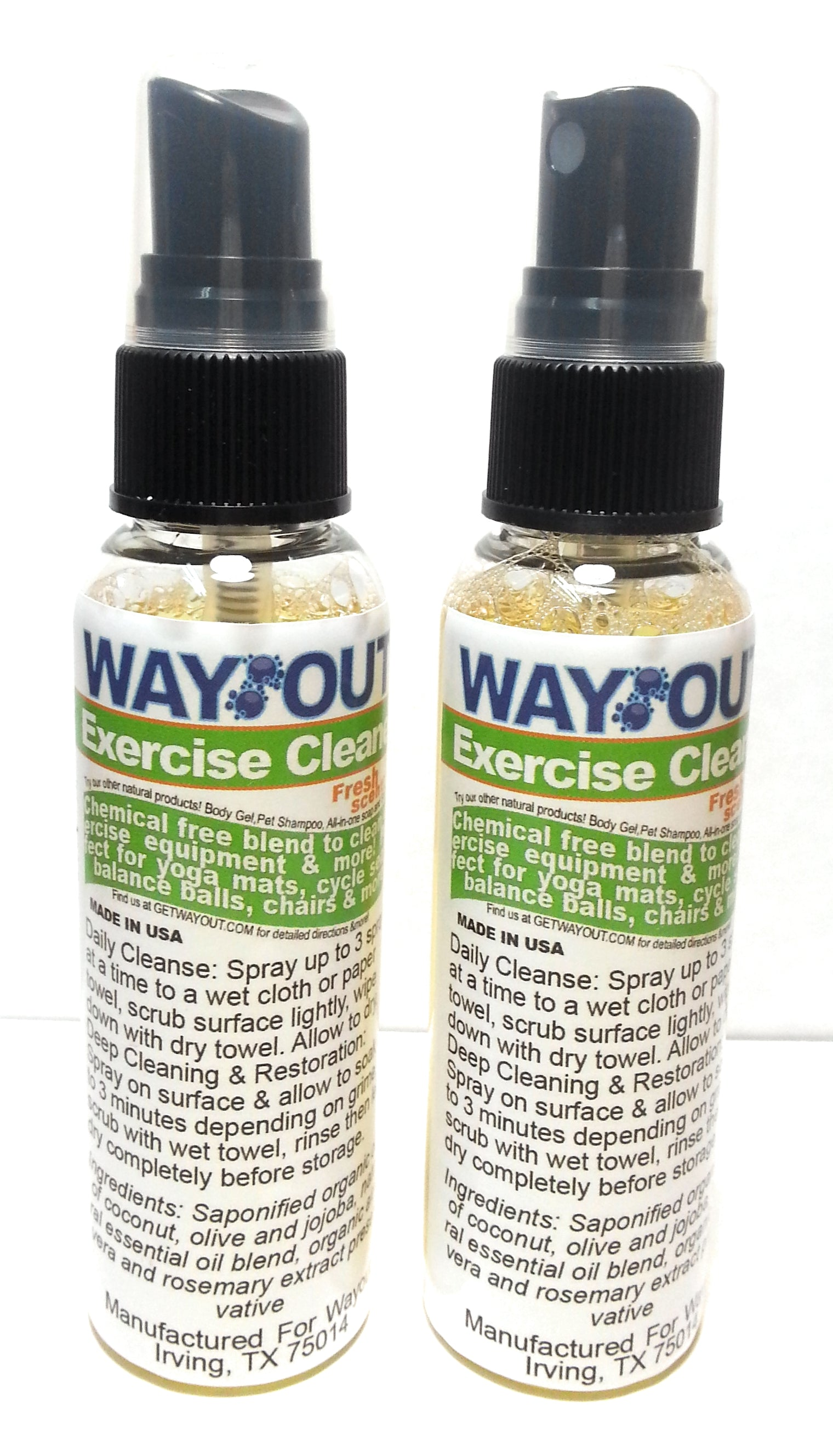 Wayout! Exercise Cleaning Spray Cleaner - 100% All-Natural with Essential Oils - 2 Count, 2 Ounce each