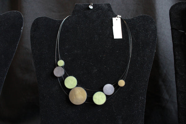 Necklace - Disc  - GREEN