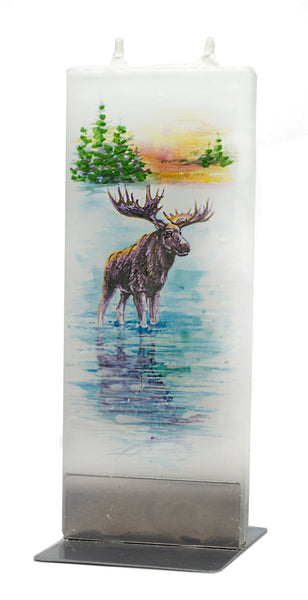 Moose by the Lake Flat Candle