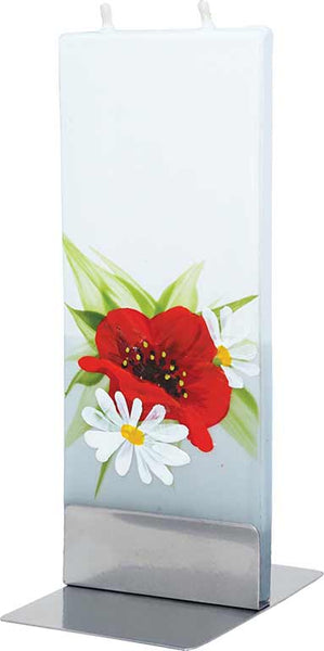 Poppy with Daisies Flat Candle