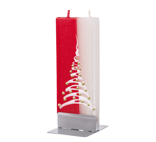 Candle - Christmas Tree, Red & White