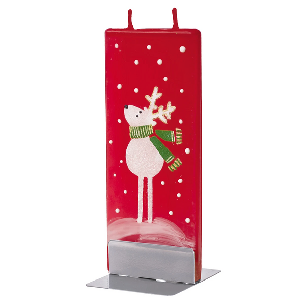 Candle - Reindeer with Scarf, Red Background