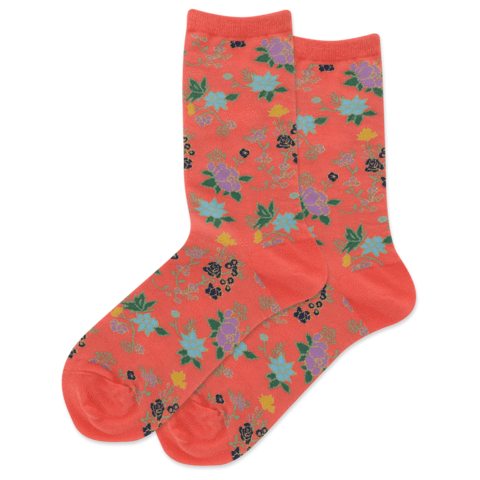 Socks: Women's - Asian Floral Coral
