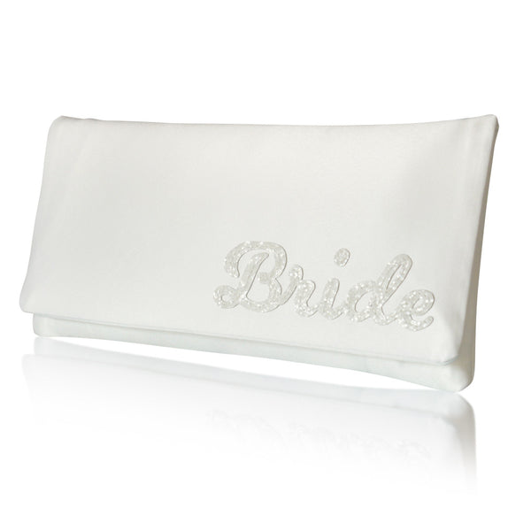 ivory satin bridal clutch for weddings