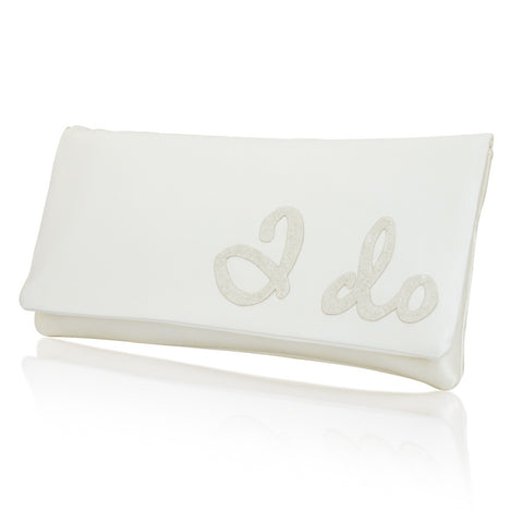 I DO ivory satin wedding clutch