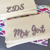 Ivory sequin personalised bridal wedding day clutch