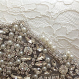 Ivory lace and diamante bridal wedding clutch handbag ISABELLA