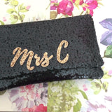 personalised monogram bridal clutch handbag