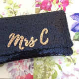Navy sequin personalised MRS initial clutch