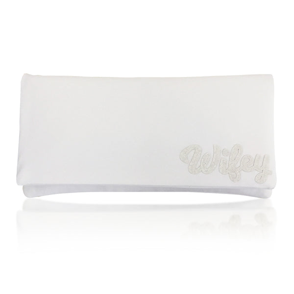 Ivory satin WIFEY bridal wedding clutch handbag