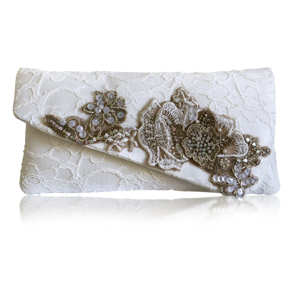 bronze and Ivory lace bridal wedding clutch