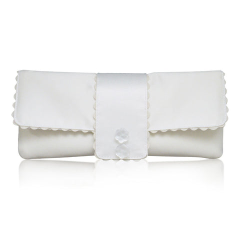 elegant ivory satin wedding handbag