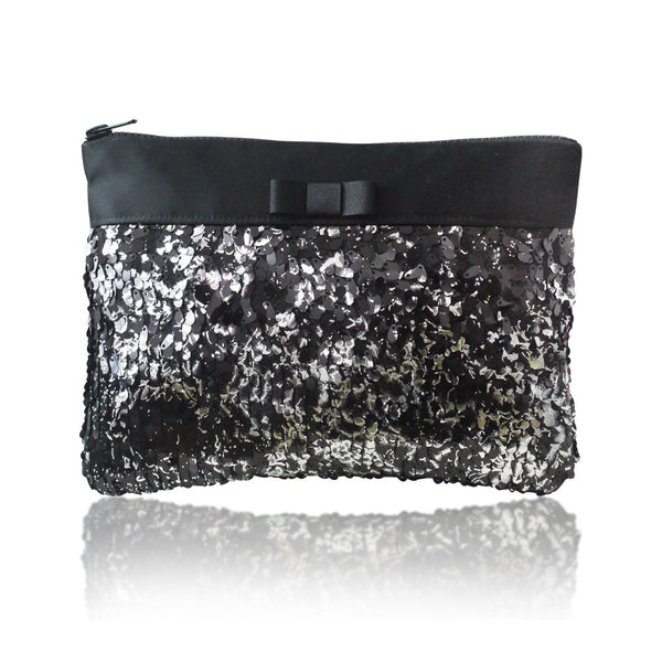Silver and black sequin zip top clutch handbag ANGELIQUE