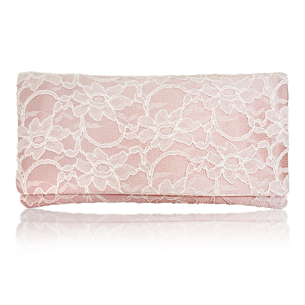 blush ivory wedding clutch