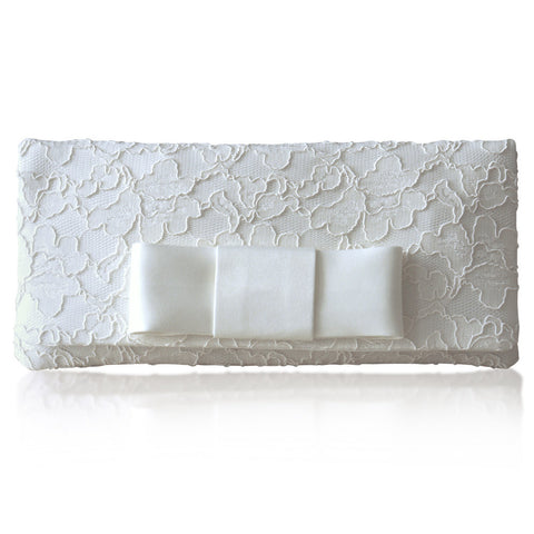 ivory lace clutch with bow