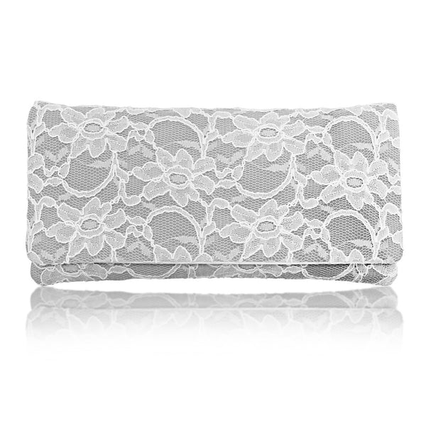 Ivory grey lace wedding bridal clutch handbag