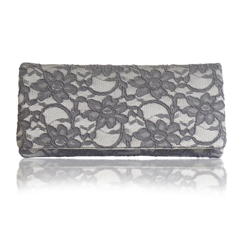 Grey and silver lace clutch handbag ASTRID