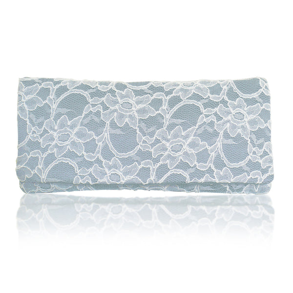 light blue ivory lace wedding clutch