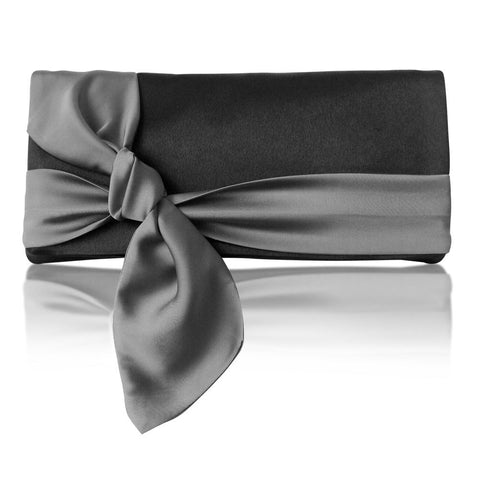 Black and grey satin clutch handbag