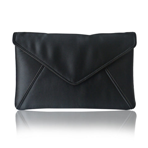 Black satin envelope clutch