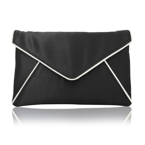 Black satin envelope clutch handbag
