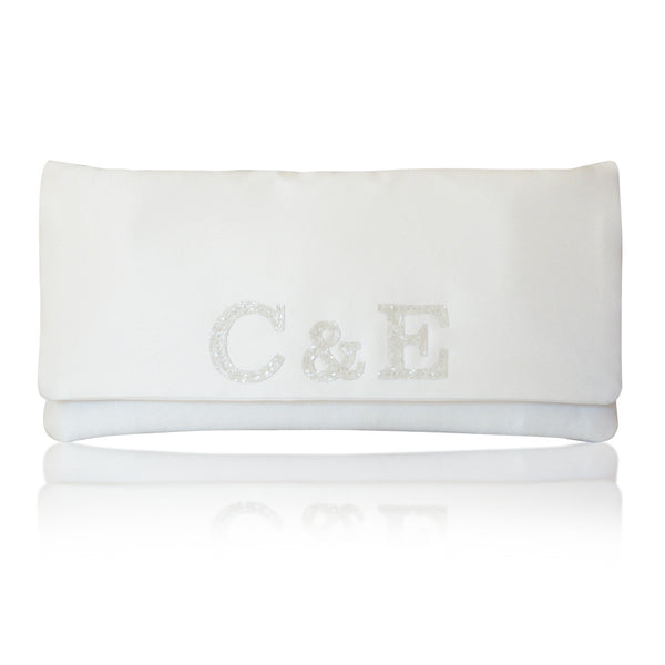 bridal monogram clutch handbag