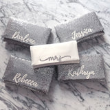 Bridesmaids gifts - set of silver sequin personalised name clutches