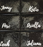 Bridesmaids gifts - set of black or navy sequin personalised name clutches