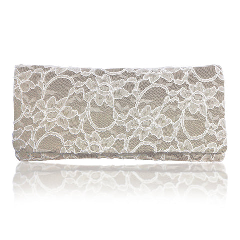 Champagne and ivory bridal wedding clutch ASTRID