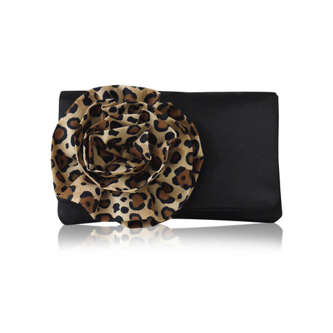 leopard print black satin clutch